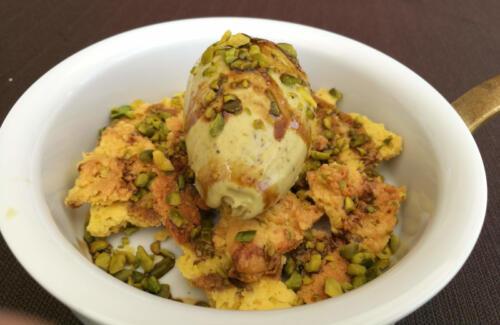 Frolla al pistacchio, gelato al pistacchio di Feudo San Biagio e Liquirizia di Rossano Calabro